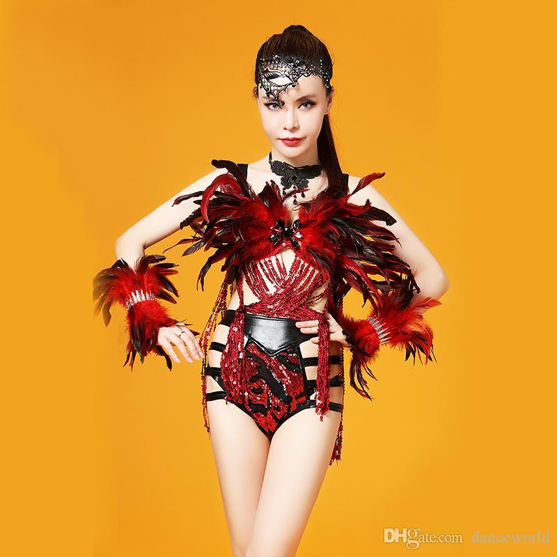 Ds الطائر الأسود الأحمر ريشة الرقص زي أداء المرحلة الزي ضمادة الترتر شرابات مجموعة النساء ملابس الرقص المغني الملابس مجموعة