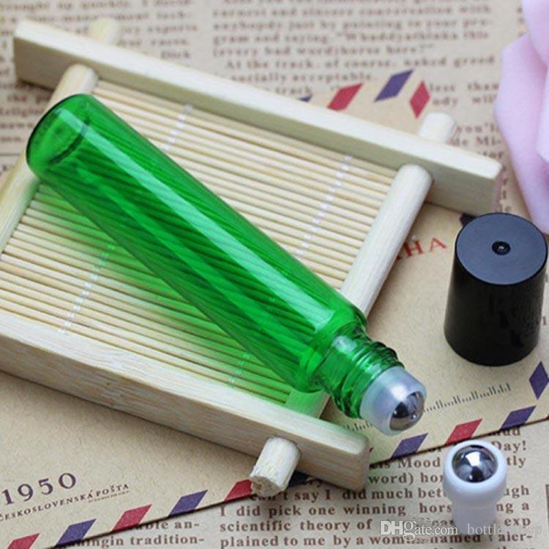 Factory Price 10ml Refillable Essential Oil Roller Bottles 1/3 oz Glass Roll On Bottle With Metal Roller Ball BY DHL