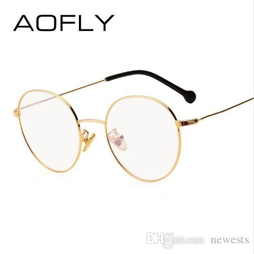 84c7e8f6c8 AOFLY BRAND DESIGN Plain Glasses Alloy Frame Women Glass Classic ...