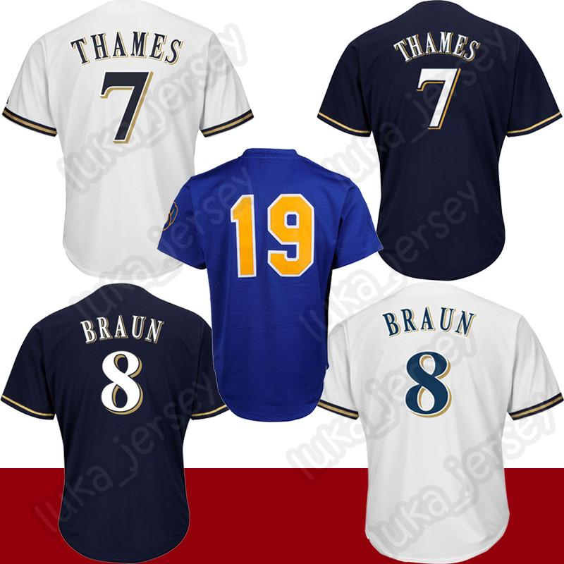 new photos 8fccf c5c48 8 Ryan Braun jersey 7 Eric Thames mens adult Wear high quality COOL Base  Baseball Jerseys