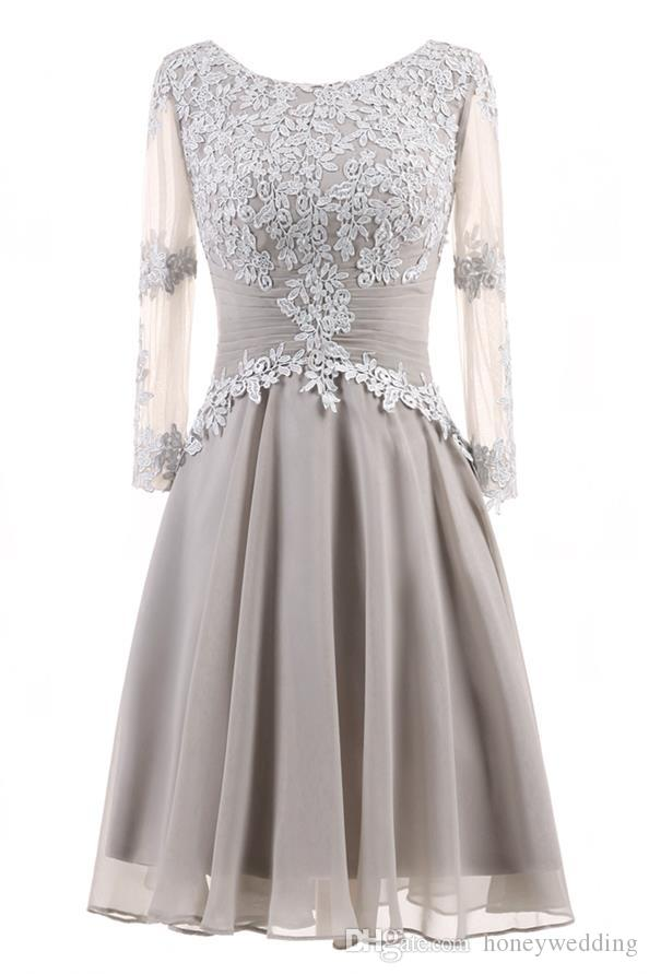 Short Prom Dresses 2018 Long Sleeves Lace Appliques Cocktail Party Dress Gowns Real Photo In Stock Women Formal Dresses 2018 New Arrival