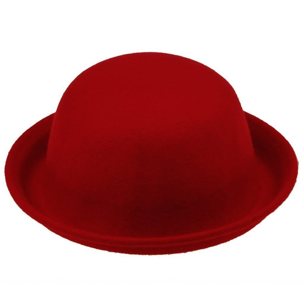 7b0c2b25695da 2019 SYB Lady Women S Wool Cute Trendy Bowler Hat Fashion Red From  Wonderliu