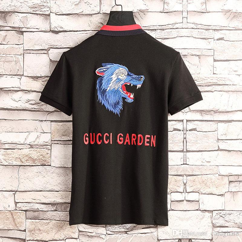 dc6098a3e50 2019 New Brand Polos Summer Mens Embroidery Wolf Head Tops Cotton Short  Sleeve Classic Casual Stand Collar Male Pullover Polo Shirt  2621 From  Caidghate