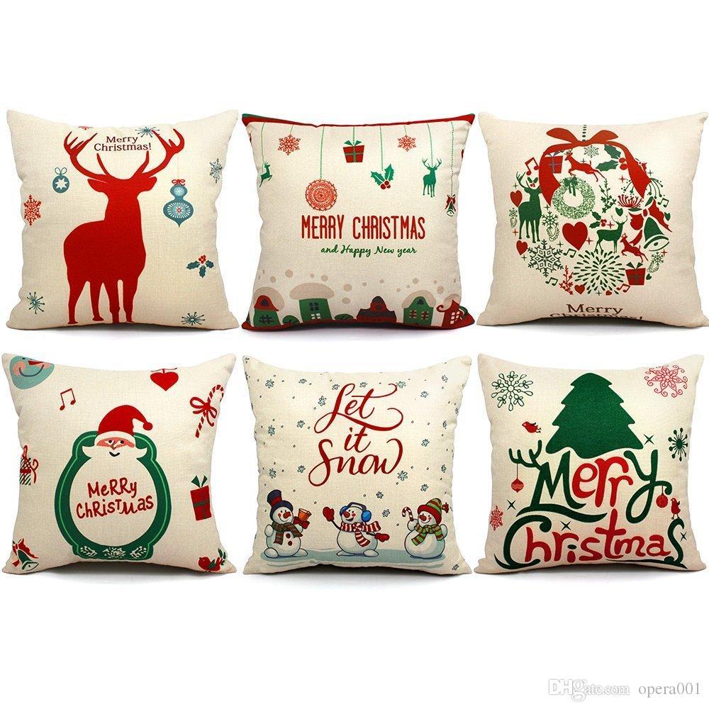 christmas pillows covers 18 x 18 christmas dcor santa claus pillow covers christmas decorative throw pillow case sofa home dcor outdoor wicker furniture - Christmas Outdoor Pillows
