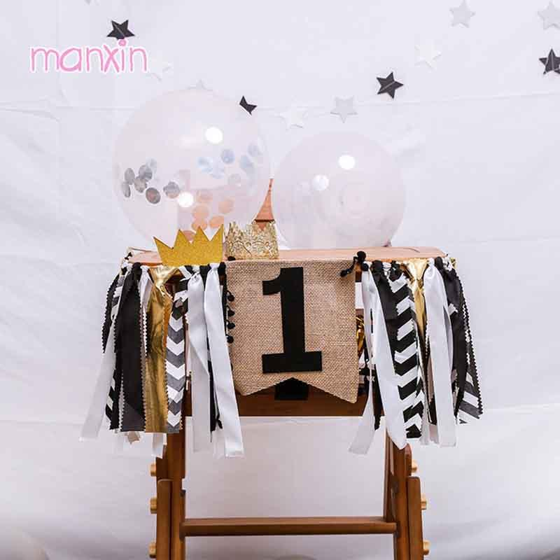 2019 Black Gold One Banner First 1st Birthday Boy Girl Decorations Garland 2nd Baby Highchair Tulle Skirt Party Supplies From Haolinhome