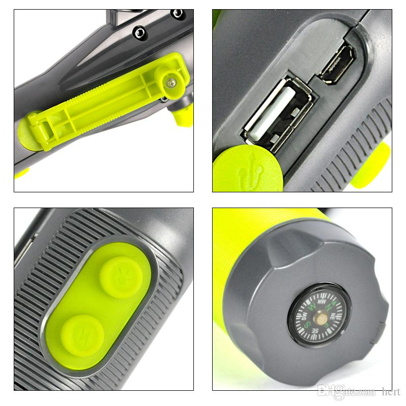 Multifunction 3 LED Flashlight USB Hand Recharging Flash Light Power Bank Tactical Torch Compass Portable Lantern