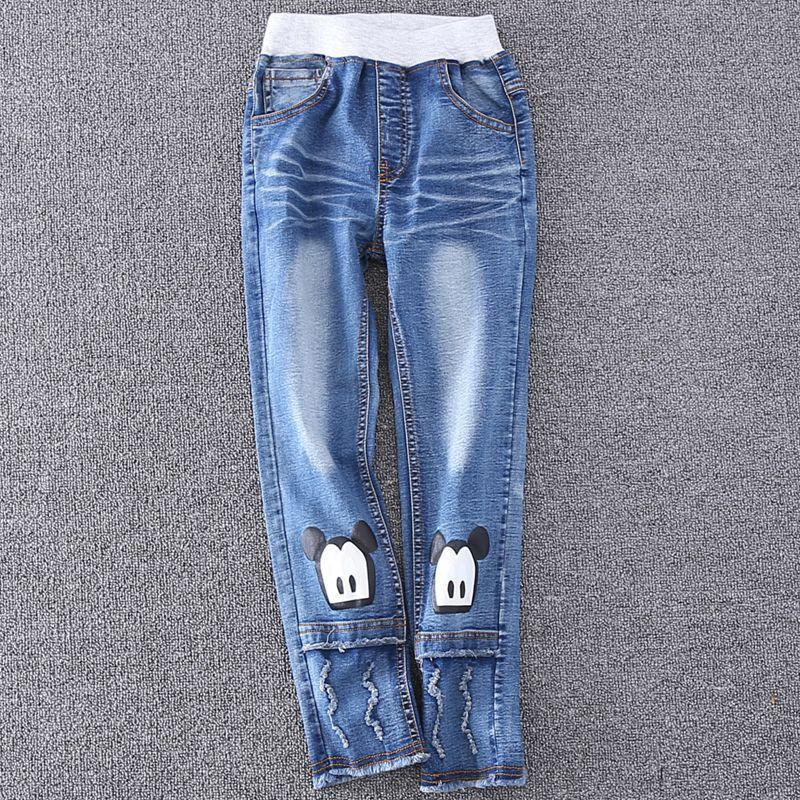 2016 New Cartoon Pattern Kids Jeans Fashion Baby Girl Jeans Cute High Quality Children Pants Handsome Casual Girls Jeans 4-10T