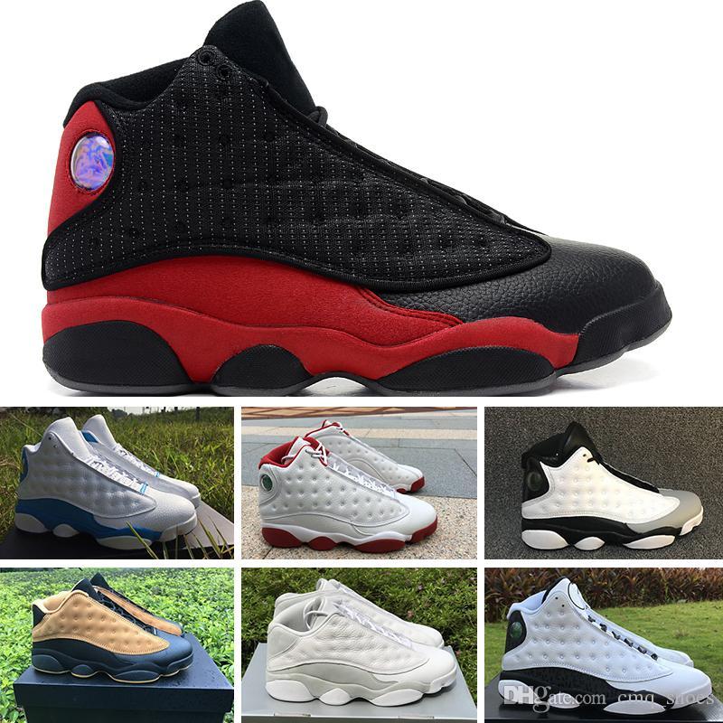 70ac0227cad Acheter 2018 Nike Air Jordan 13 Retro Nouvelle Haute Qualité J13 Running  Hommes Chaussures De Basketball Chat Race Marine Jeu Hologram Gris Orteil  Gris ...