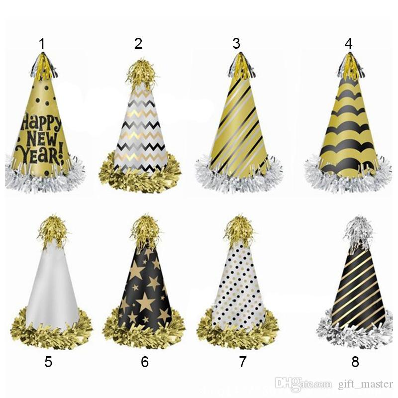 2019 Gold Reflection Party Hat Cone Birthday Hats New Year Party Cap
