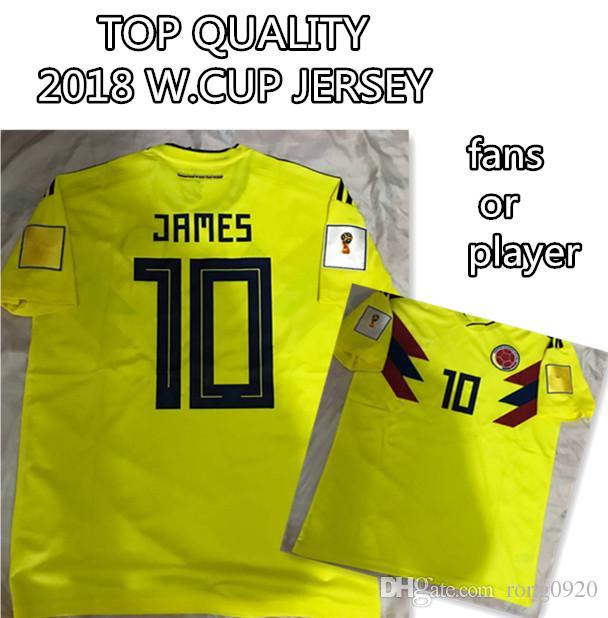 Compre 2018 Colômbia Casa Camisola De Futebol   10 James Qualidade Superior  Com Patches Fãs Versão Jogue Futbol Camisa Personalizada De Rong0920 428464463a917