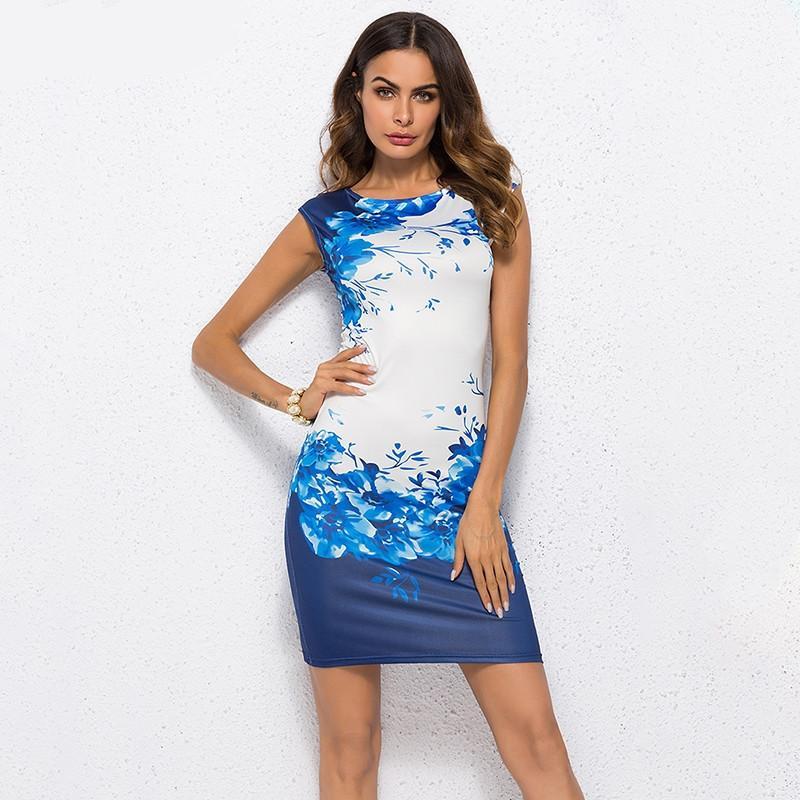 a9ed6b92140d 2019 nuevo verano floral vestido de las mujeres más el tamaño 3XL elegante  vestido de fiesta de la oficina de las señoras Vestido Femenino Delgado ...