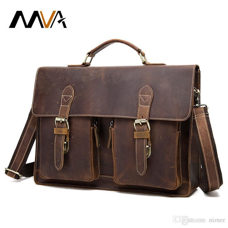 2a3e4a3d8dea MVA Men Briefcase Genuine Leather Bags Crazy Horse Handbags Office ...
