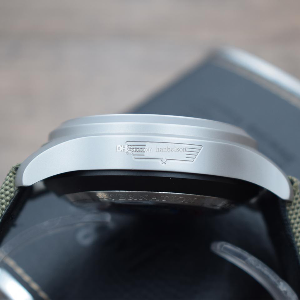 YENI Pilot IW388002 VK kuvars hareketi SPOR Beş pointer İşlevli STOPWATCH Askeri yeşil Naylon kayış I W C Mens bilek İzle