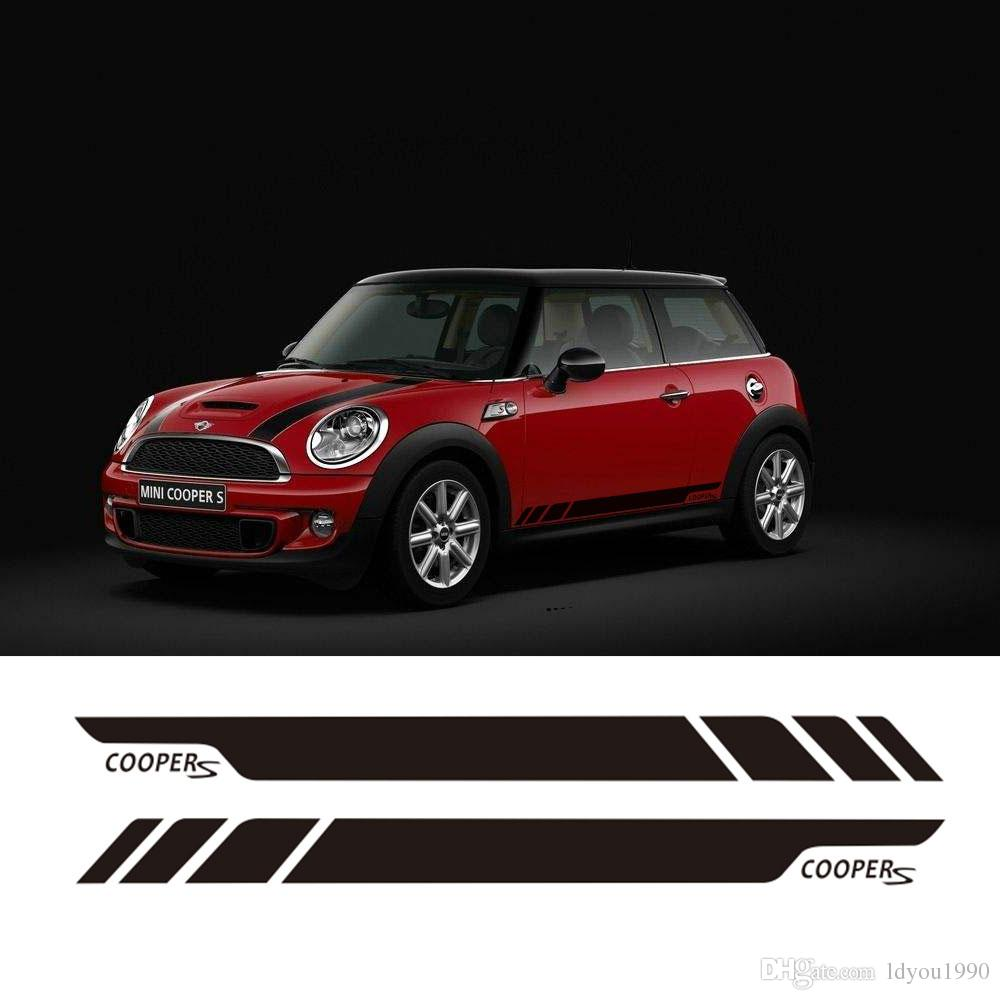 Pair of Side Stripe Decal Graphic Sticker Kit for Mini Cooper S 2-Door R56 R50 R52 R57 R58 R59 Side Skirt Sticker
