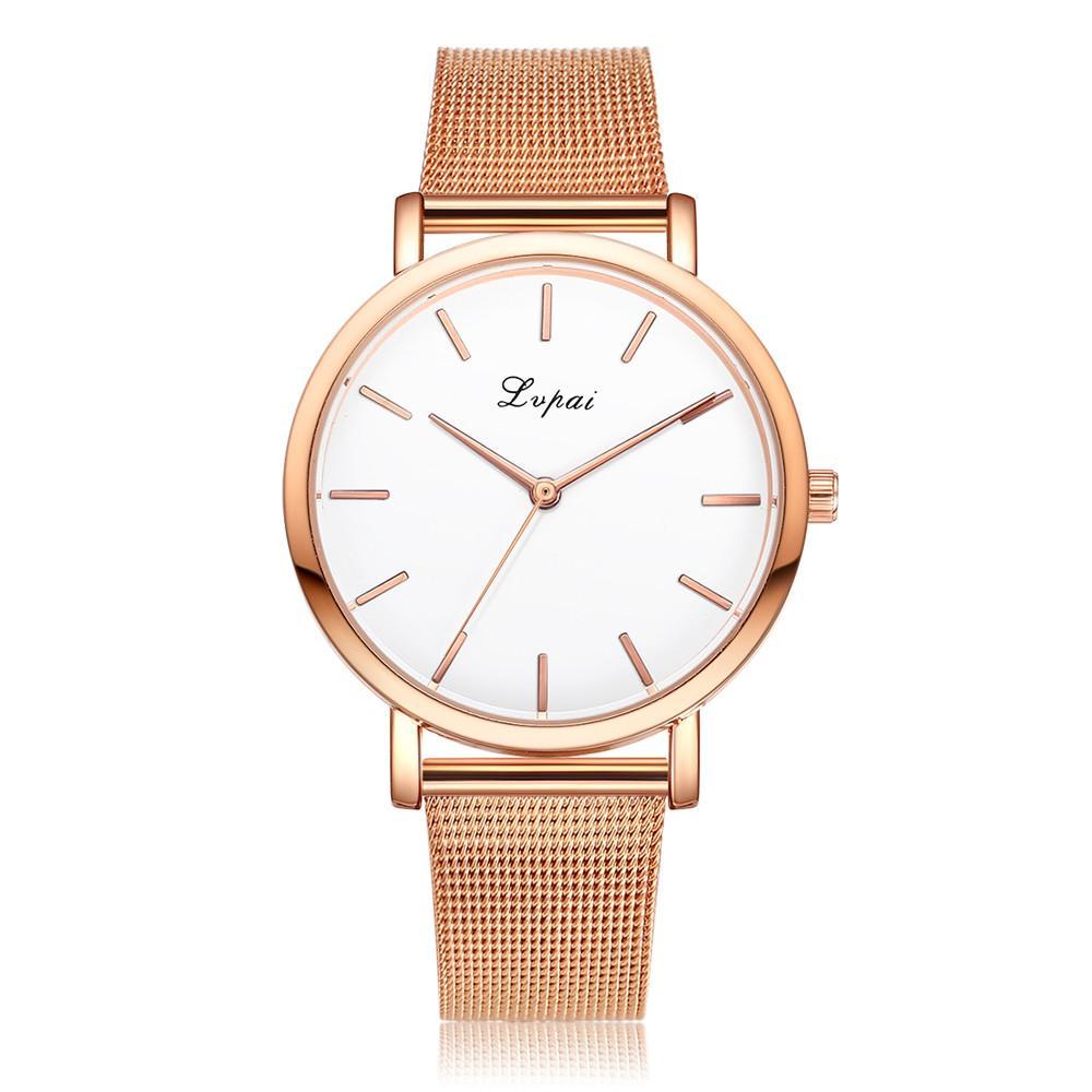 87752e6f978 Compre Moda Feminina Rose Gold   Prata Relógio De Aço Inoxidável Analógico Quartz  Relógio De Pulso Montre Femme Elegante Das Mulheres Relógios LVPAI De ...