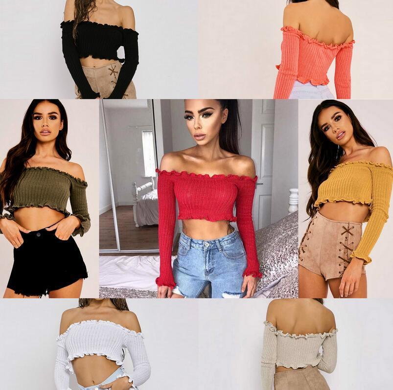 2019 Fashion Women Off Shoulder Crop Top Long Sleeve Frill Blouse