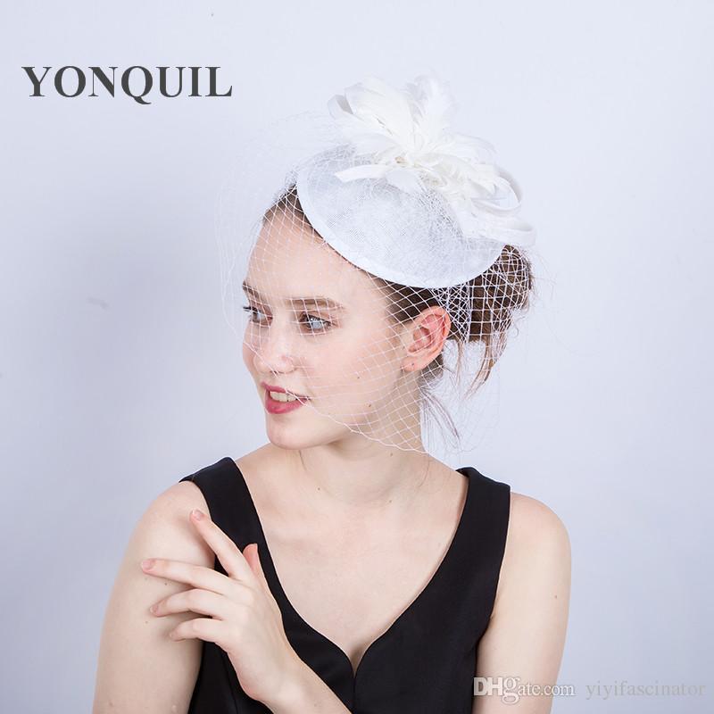 Ladies Fancy Races White Wedding Hat Veils Fascinators Bridal Headpieces  Feather Party Tocados Sombreros Bodas Imitation Sinamay Hats SYF191 Ladies  Hats ... d2a4a6baed1