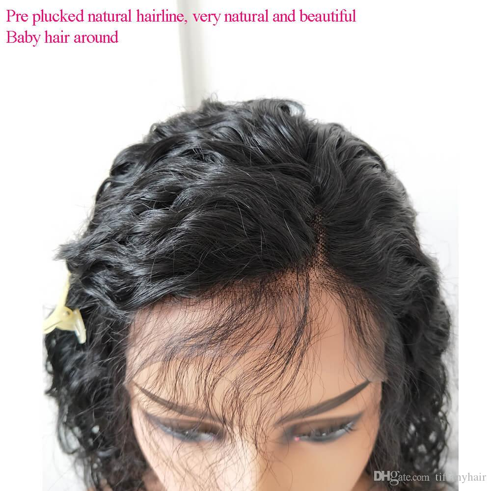 Brazilian hair #1 Jet Black 150% density Lace Front wigs Loose Water Wave Human Hair Pre Plucked Natural Hairline Bleach Knots for woman