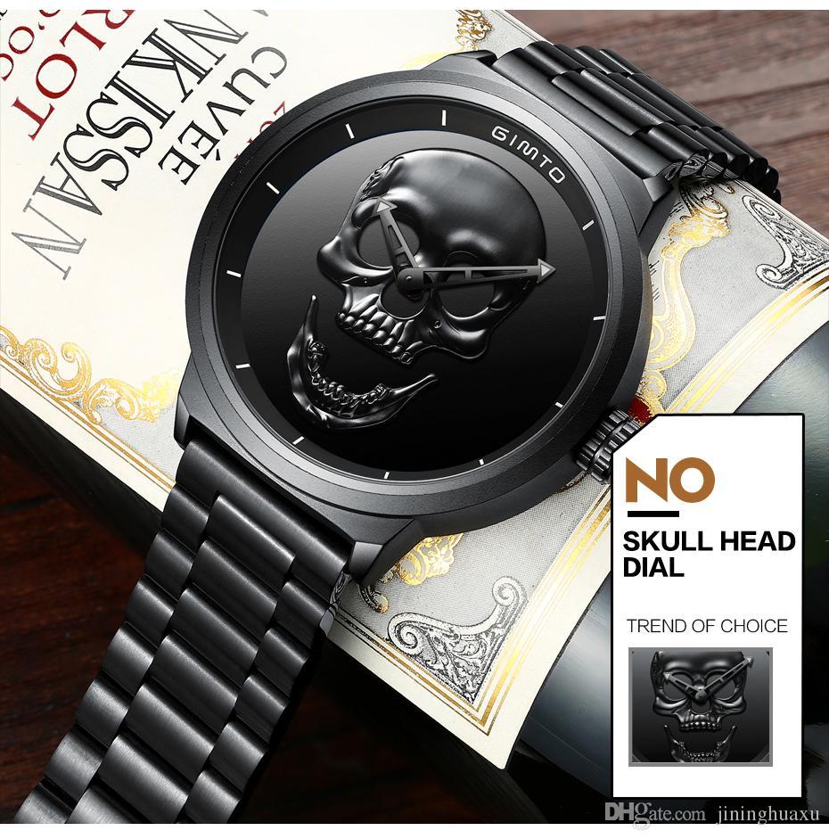 GIMTO Top Marca Big Crânio Homens Relógio De Quartzo De Luxo Relógio de Pulso Preto Relógio De Aço Legal Menino Masculino Militar relógios Esporte à prova d 'água
