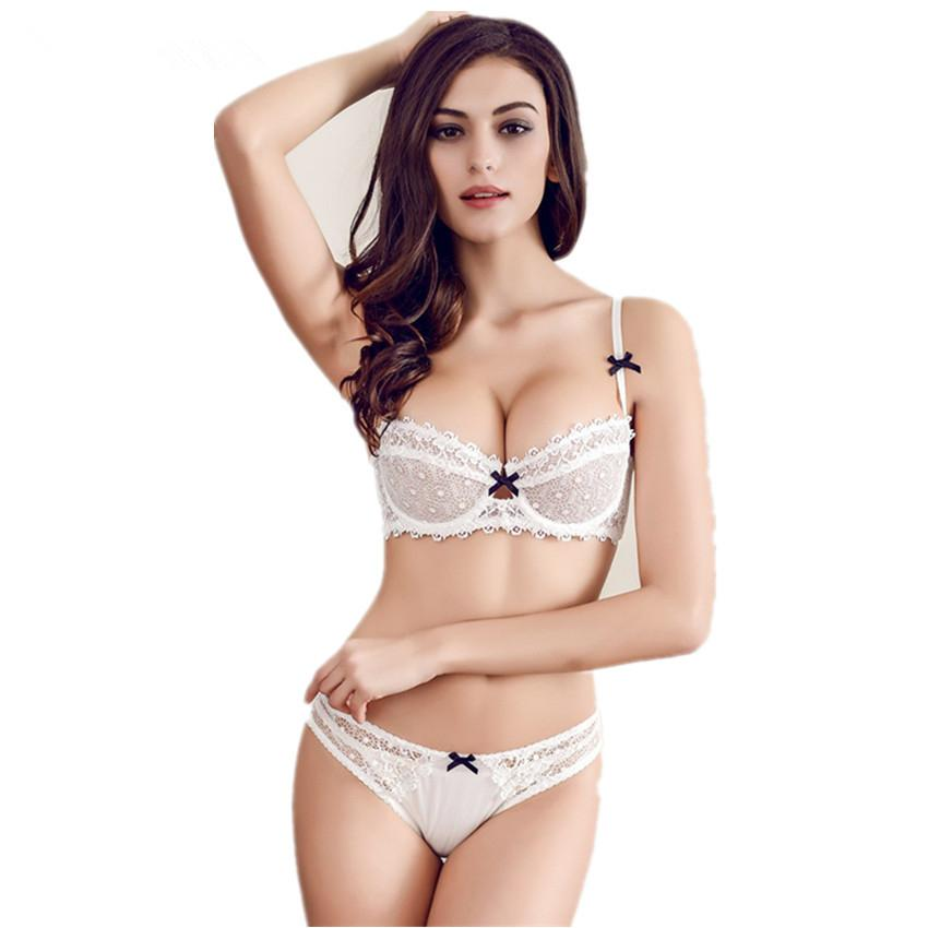 0f09a4efb7 2019 2017 Newset Very Sexy Women Half Cup Lace Bra + Briefs Plus Size Ultra  Thin Sexy Plunge Bra Sets A B C Cup 36ABCD From Vickay