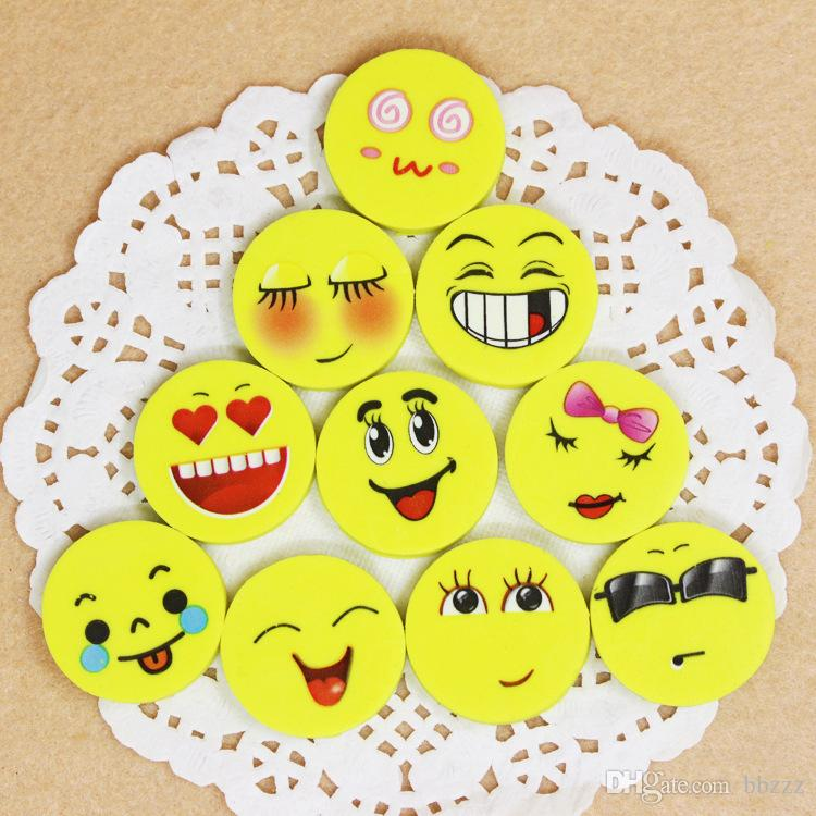 2.5CM Lovely smiling face Emoji Eraser Cute Rubber Correction Pencil0 Erasers Student Stationery School Supplies Kids Gift /bag