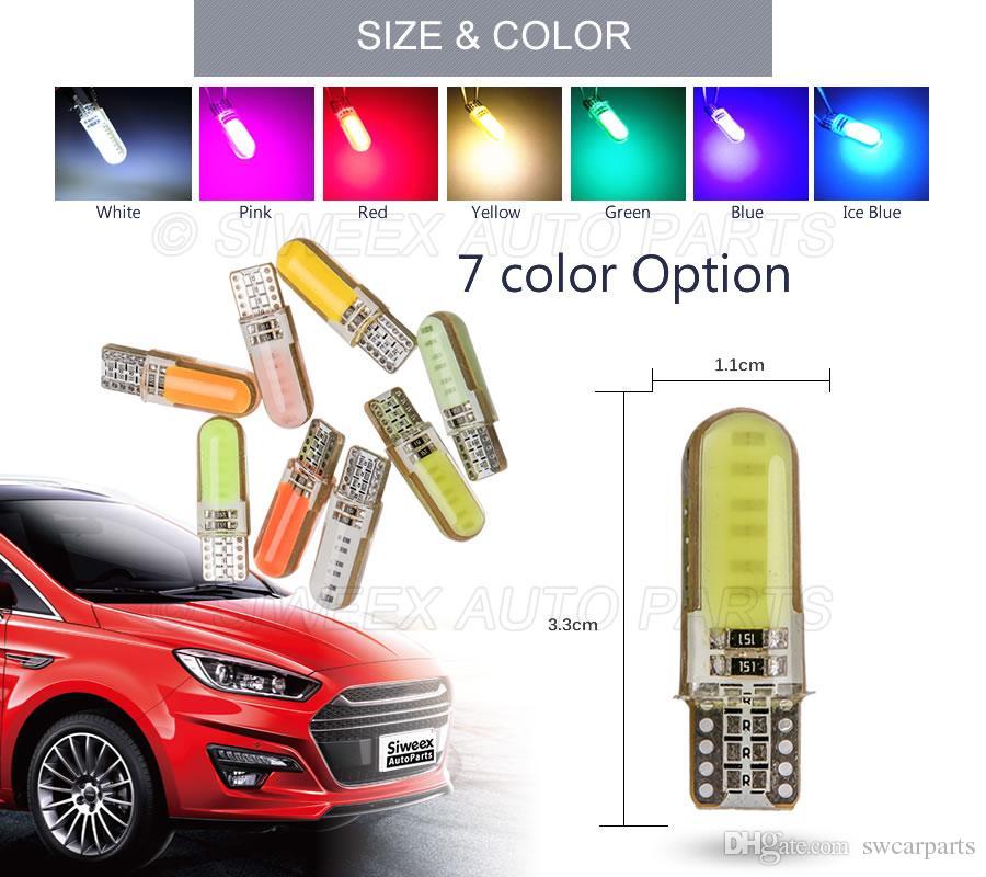 W5W T10 COB 12 чипов силиконовый чехол 194 силиконовый чехол автомобиль авто парковка свет стайлинга белый зеленый розовый красный желтый лед синий 12 В