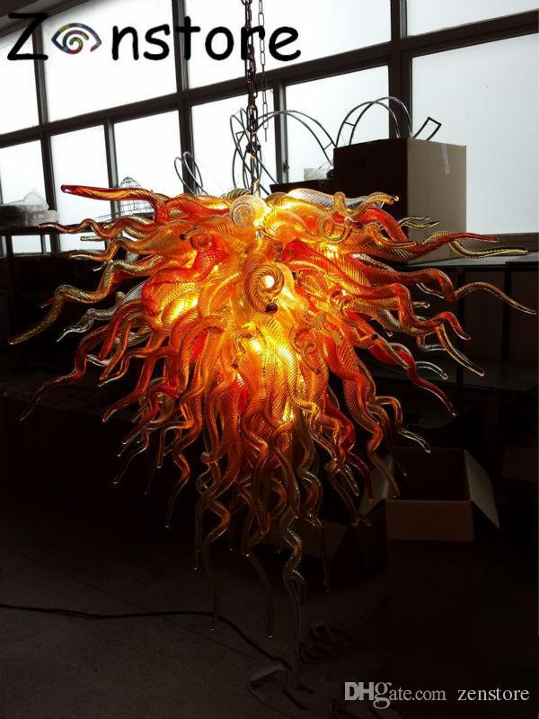 Modernas arañas de cristal 100% soplado a mano. Iluminación de cristal. Araña de luz Lustre colgante. Luz colgante para el comedor. Escalera del vestíbulo.