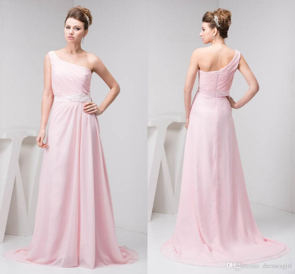 52eb346fe6a Stunning Light Pink Bridesmaids Dresses One Shoulder Sweep Train Zipper  Back A Line Wedding Guest Dress Cheap Country Bridesmaid Dresses Designer  Bridesmaid ...