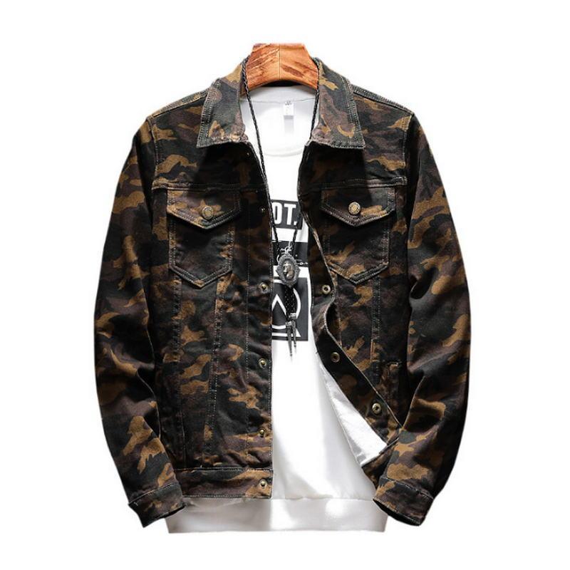 Neue Herren Camouflage Denim Jacke Mantel Männlichen Outwear Jaqueta Masculino Jeans Jacke und Mäntel Mode Design Herbst Markenkleidung