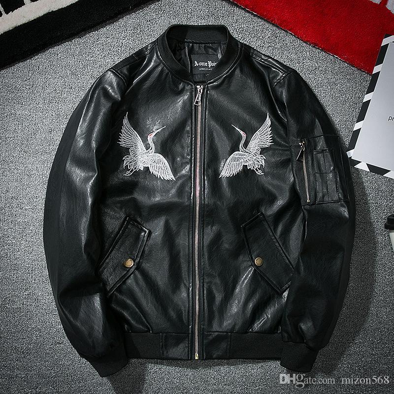 Nueva chaqueta de cuero de los hombres de la marca de la marea de la calle de cuero bordado Xianhe otoño uniforme de béisbol de los pilotos de la fuerza aérea