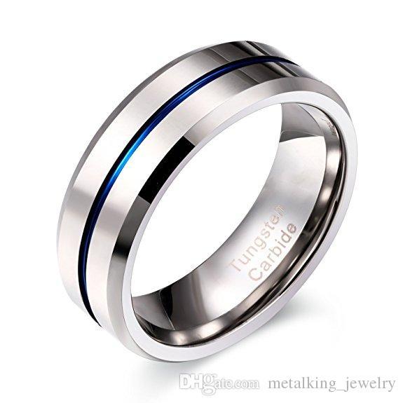 Anillo de carburo de tungsteno de 8 mm Banda de acanalado azul fino Band Band High Comfort pulido, Tamaño 7-12