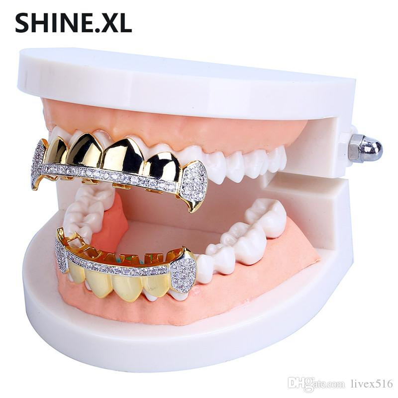 Hip Hop Grills Teeth Caps Mouth Iced Out Micro Pave CZ Stone Top and Bottom Vampire Tooth Grills Set Party Gift