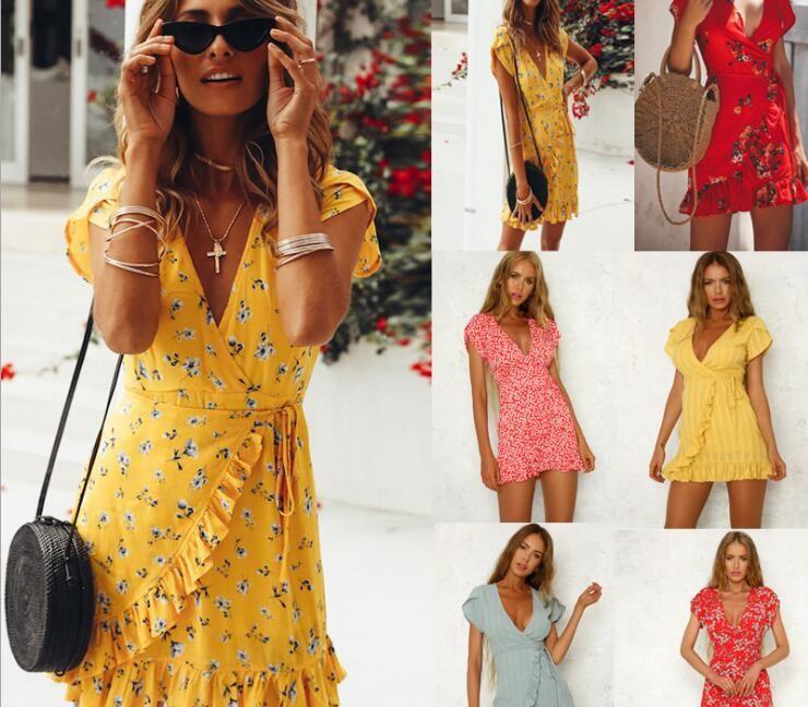 13 Designs New Women Summer Bohemian Dresses Tropical Leaf Print Ruffle  Deep V Neck Sashes Beach Dresses Holiday Seaside Casual Party Dress Party  Dresses ... b4e5281597a2