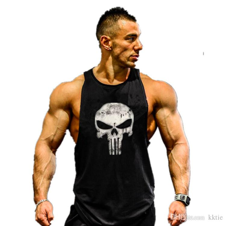 a8d91541a4797 2019 Wholesale Skull ZYZZ Golds Bodybuilding Stringer Tank Tops ...
