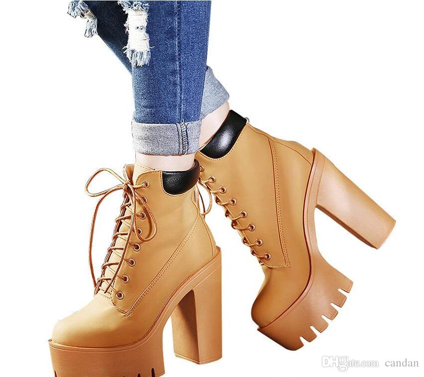 65cb488145771 Fashion Spring Autumn Platform Ankle Boots Women Lace Up Thick Heel Martin  Boots Ladies Worker Boots Black Size 35 40 Combat Boots Rain Boots From  Candan