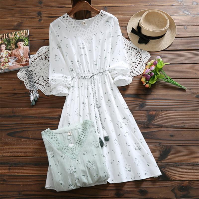 44771683089c 2018 Otoño Primavera Floral Elegante Vestido de Mujer Con Cuello En V  Elegante Blanco Verde Vestidos Mujer Mori Chica Algodón de Lino Borla  Kawaii ...