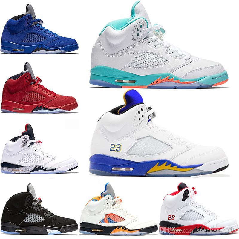 Compre Nike Air Jordan Retro Laney Light Aqua 5 5 S Homens Mulheres Sapatos  De Basquete Vôo Internacional Vermelho Azul Camurça Cimento Branco Metálico  ... 8ce75e85ed