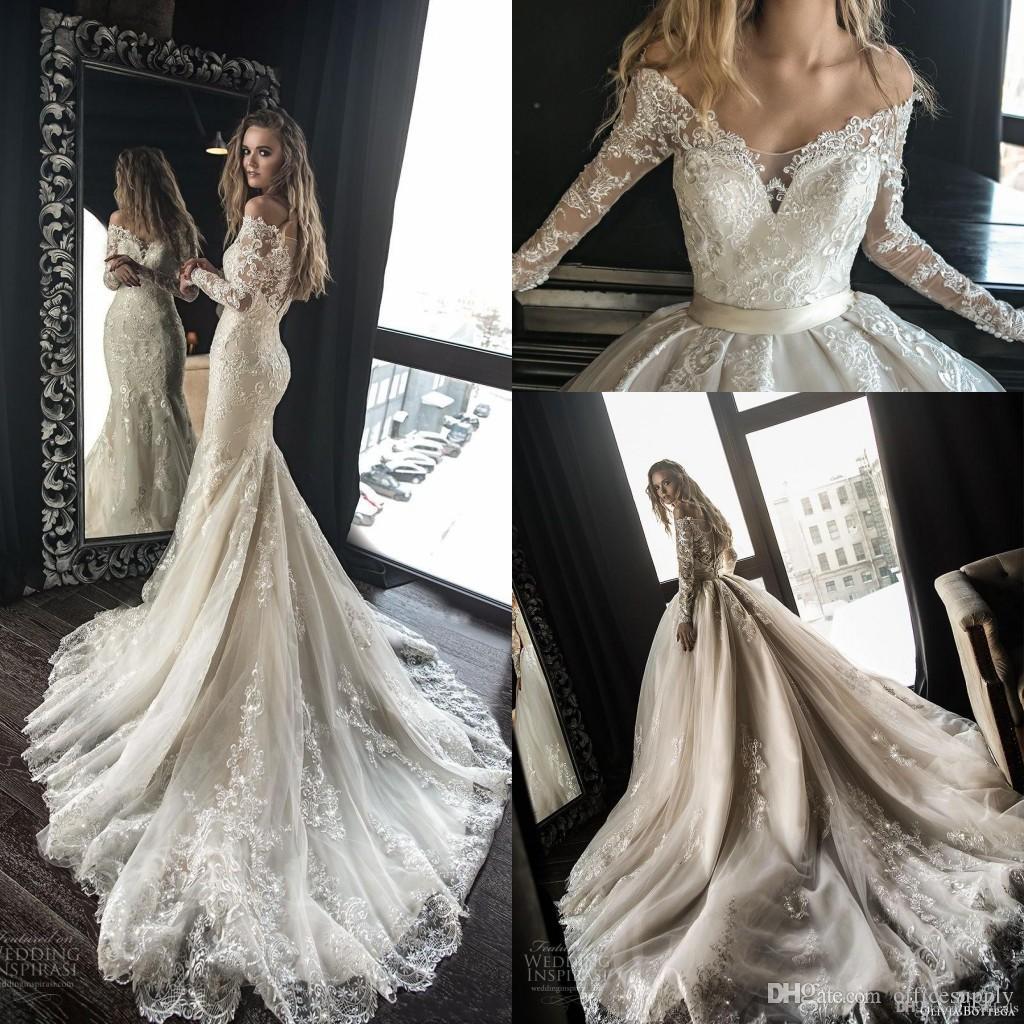 21273c9c5 Compre Precioso Diseñador Sirena Vestidos De Novia Con Tren Desmontable  Árabe Dubai Fuera Del Hombro Mangas Largas Encaje Nupcial Vestidos De Novia  A  243.3 ...