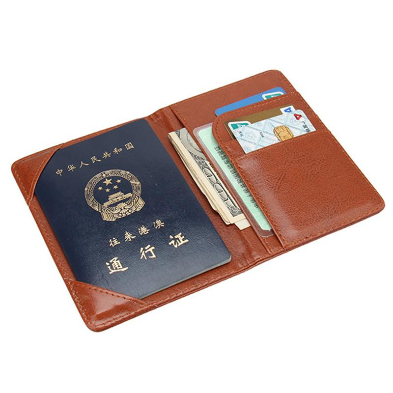 High quality New Fashion Men PU Leather Tickets Passport Covers Holder Travel Document package black/brown/coffee