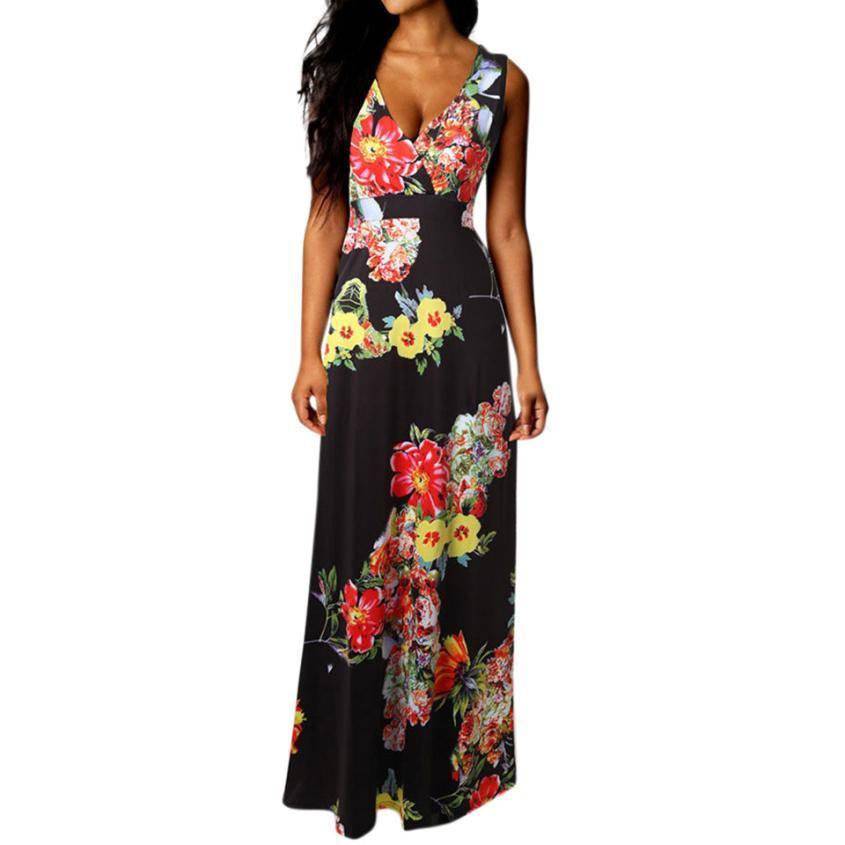 d43b5bfcbb V Neck Women Boho Summer Dress Beach Floral Print Long Party Dress Female  Sexy Sleeveless Sundress Roupa Feminina Online with  36.87 Piece on  Fafachai06 s ...