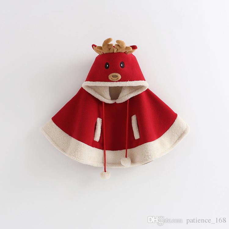 Ins New Christmas Style Girl Kids Plush Cute Cartoon Elk Cloak Cape