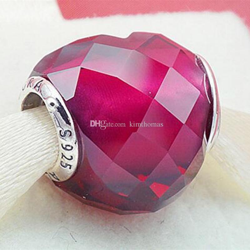 Plata esterlina 925 forma fucsia del amor del grano del encanto con adapta el collar europeo de las pulseras de la joyería del estilo de Pandora