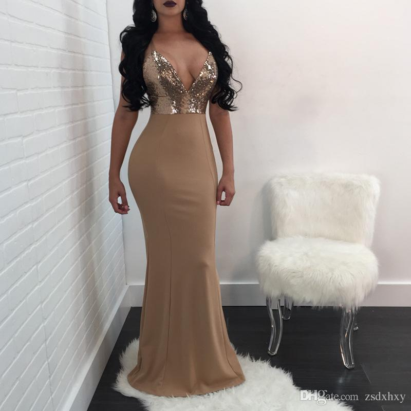 Sequined Dress Women Flamingo Clothes Fashion 2018 Women Tunic Long Night Club Sheath V Neck Hollow Out Ladies Gowns Sexy Plus Size Dress