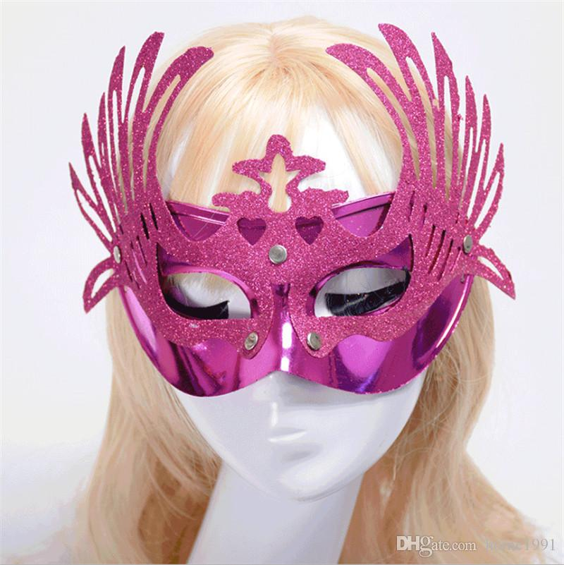 New Masquerade Birthday Party Peacock Girls Mask Half-face Hollow Gold Ball Dance Show Flower Eagle Plating Mask