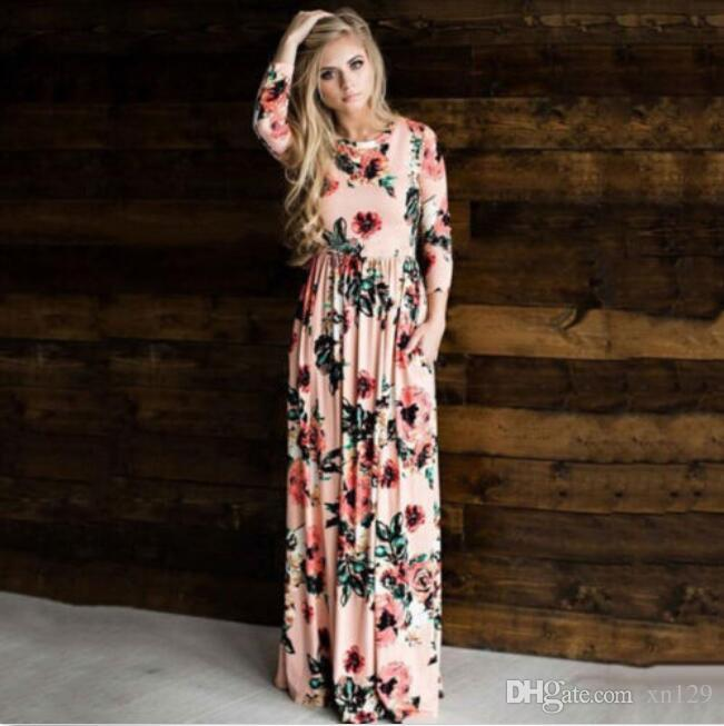 cc0ac25b7d Womens Floral Long Maxi Dress Long Sleeve Evening Party Summer Beach  Sundress Couture Dresses Designer Evening Gowns From Xn129, $19.09|  DHgate.Com
