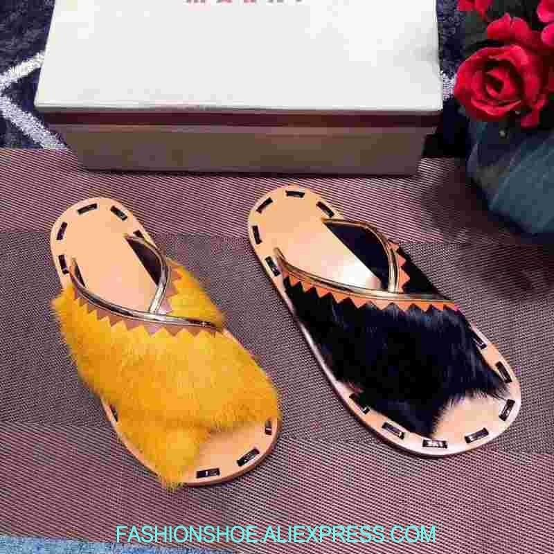 f4dfdc8374db Mink Hair Women Slippers Outside Summer Shoes Woman Casual Beach Flats  Luxury Fur High Quality Women Sandals Street Style Slides Bearpaw Boots  Silver Shoes ...