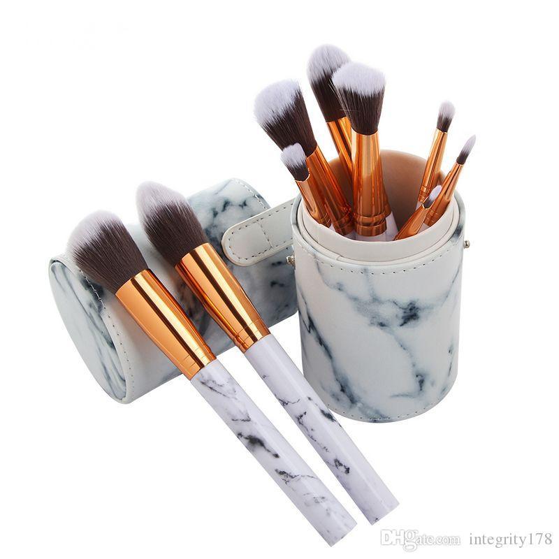 MAANGE Pro Marbling Makeup Brushes Kit Marble Pattern Cylinder PU Brush bag Power Beauty Make Up Brush Cosmetic Tools