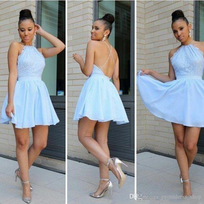 Envío gratis 2019 nuevo barato dulce 16 azul vestidos de fiesta Halter de encaje apliques gasa corto vestido de fiesta vestido de fiesta vestidos de cóctel