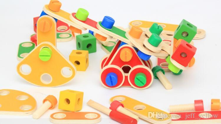 Children Puzzle Building Blocks Wooden Variety Screws Nuts Car assembly combination Disassembly Boy toys