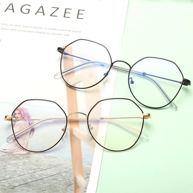 bd67721f110 2018 New Metal Polygon Retro Glasses Frames Female Irregular Myopia ...